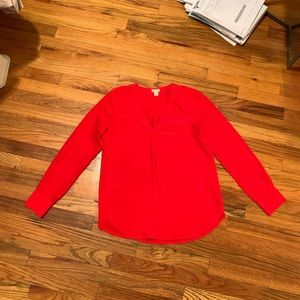 JCrew red v neck blouse - only worn once